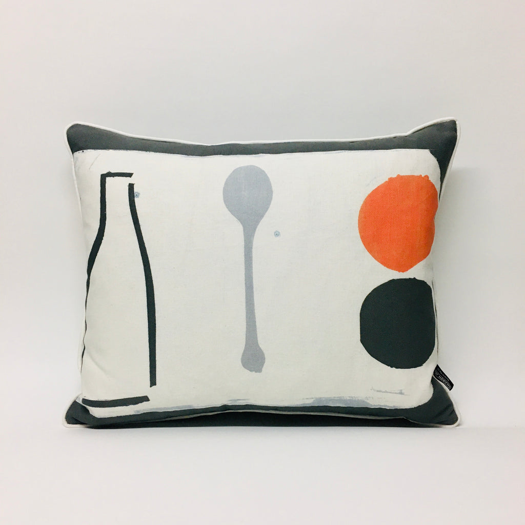 Hand Printed Orange + Spoon Cushion
