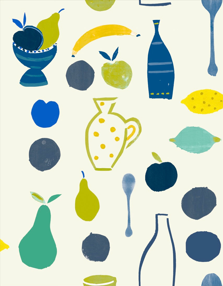 Naive Fruit Motif Wallpaper - Blue Bottle