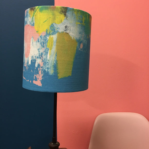 Small Abstract turquoise, lampshade.