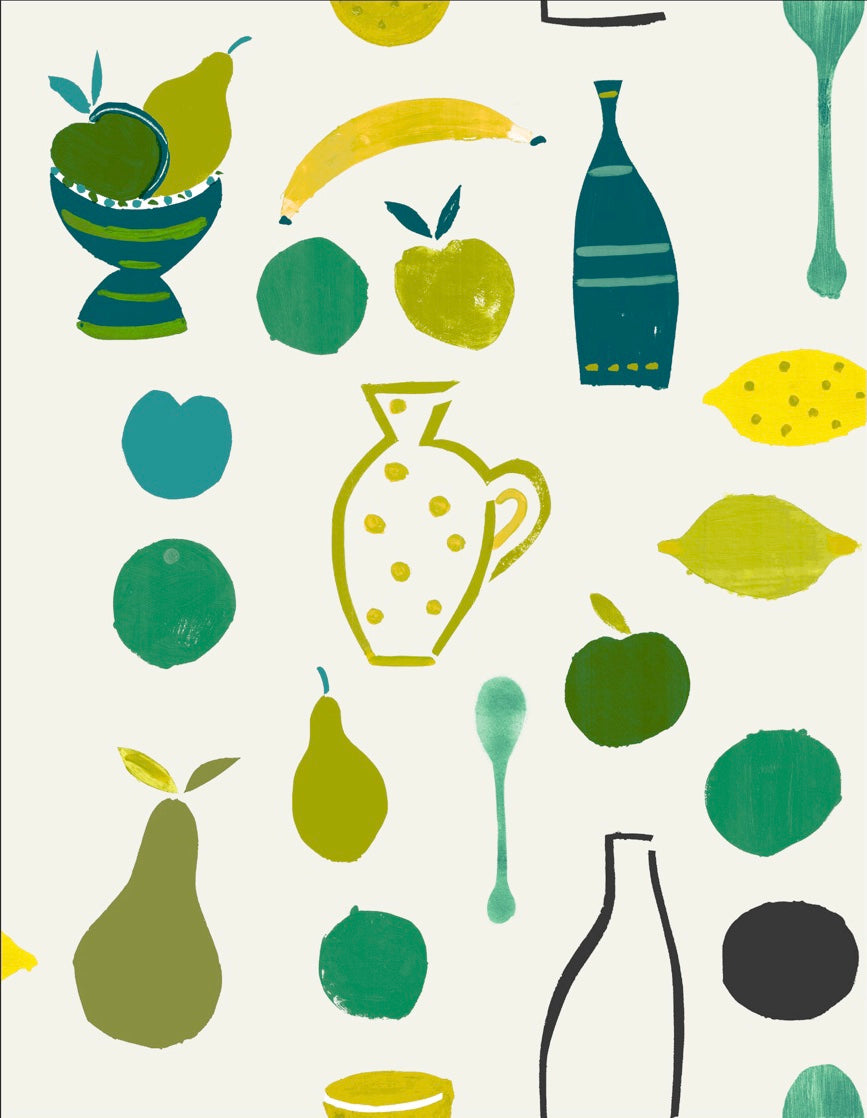 Naive Fruit Motif Wallpaper - Lime