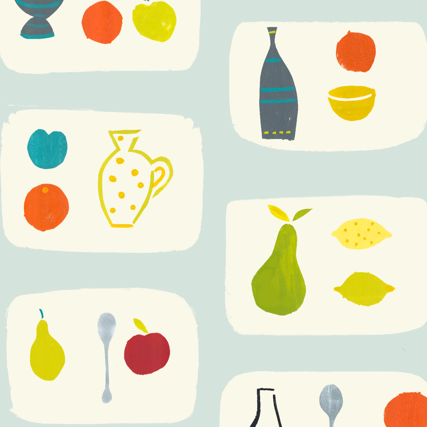Naive Fruit Screen printed Wallpaper