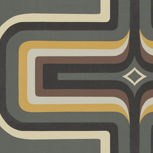 70s Geometric wallpaper Grey + yellow