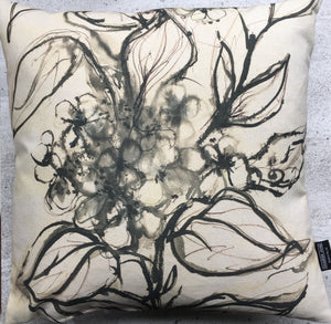 Aquatint Monochrome Floral Cushion
