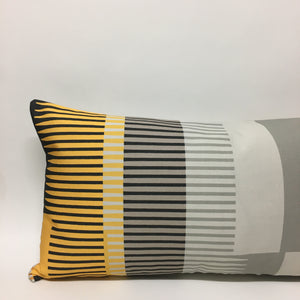 Combed Stripe Cushion - Grey, yellow + black