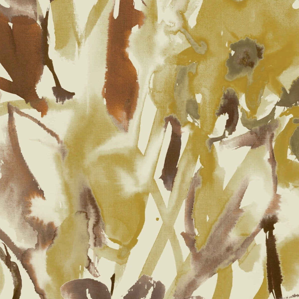 Watercolour Floral Wallpaper - Ochre + Umber