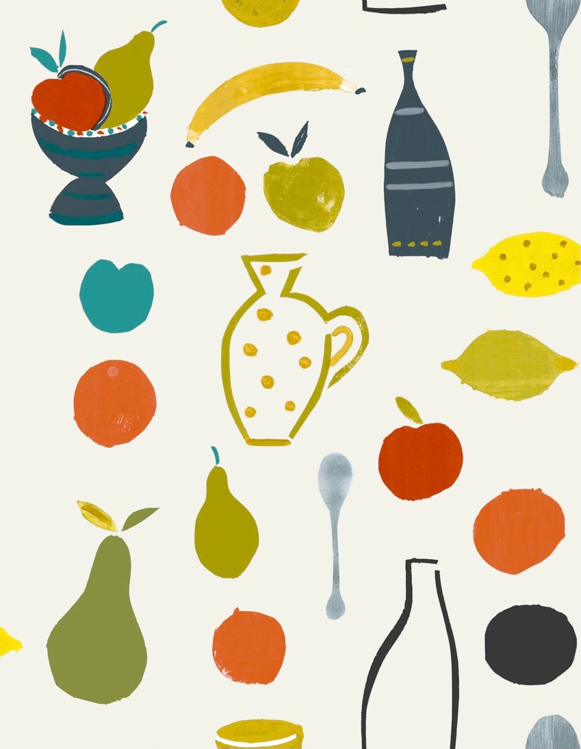 Naive Fruit Motif Wallpaper - Grey bottle