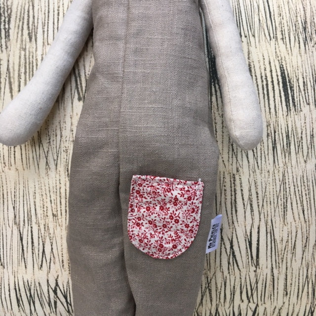 Hand Made Linen Soft Toy - Teddy