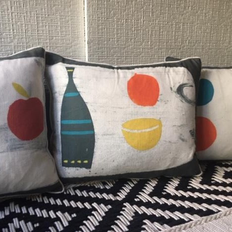 Hand Printed Grey Bottle Cushion