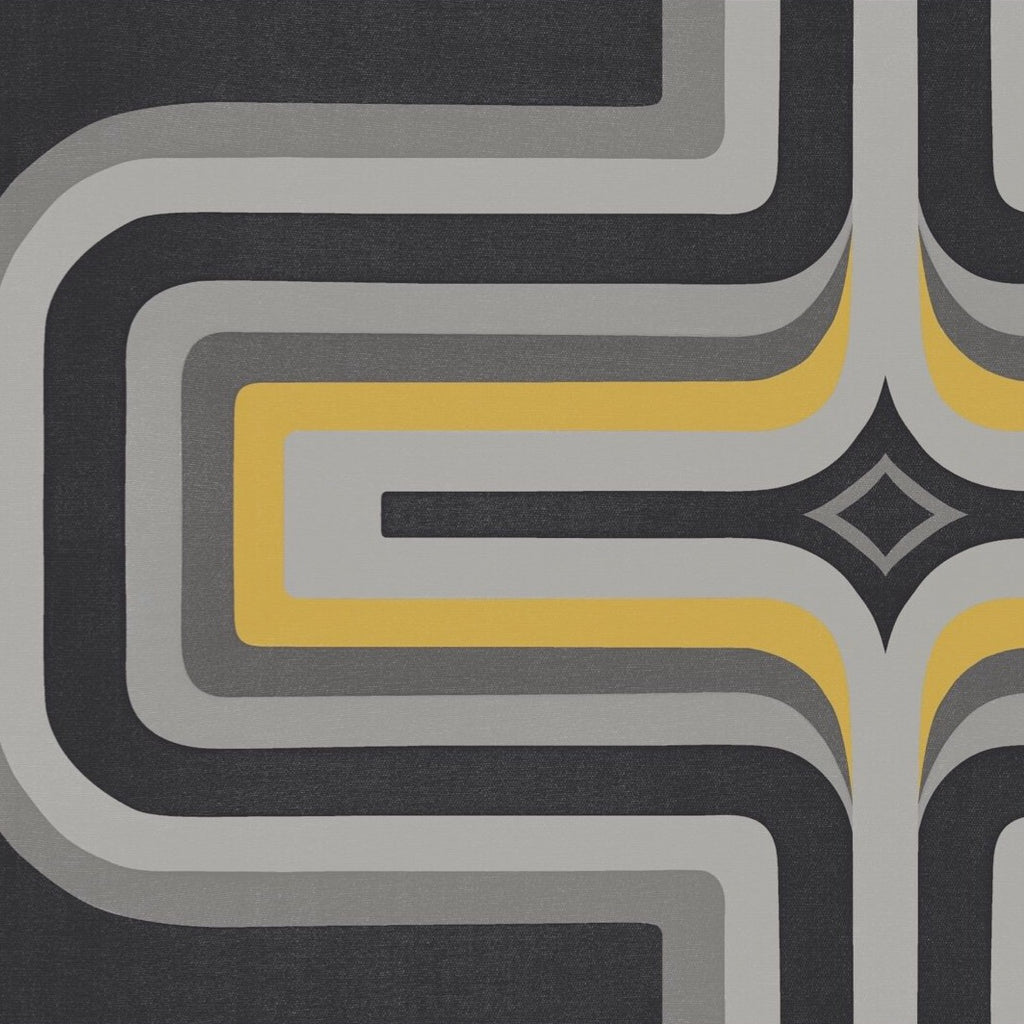 70s Geometric wallpaper Slate + Yellow