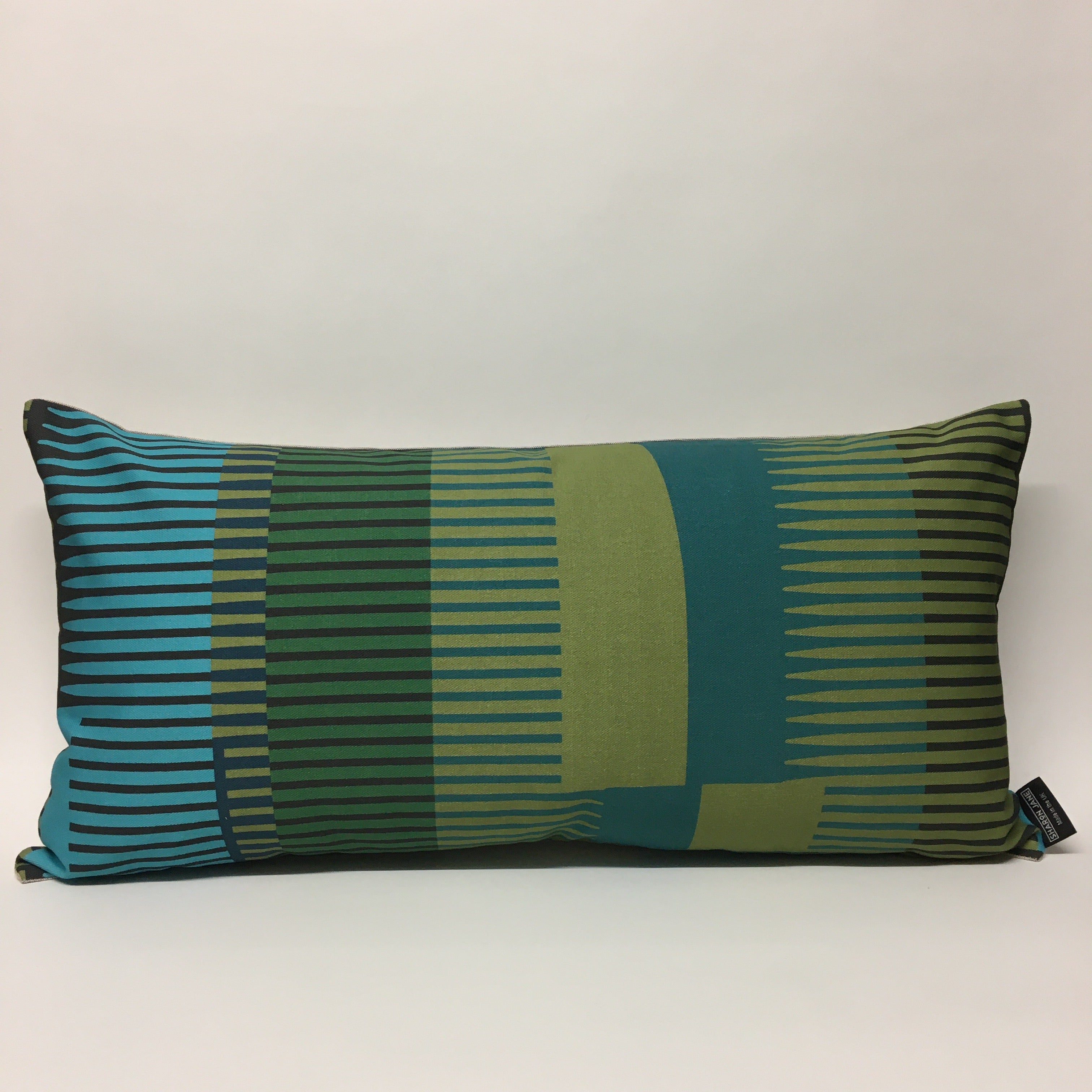 Combed Stripe Cushion - Olive, teal + turquoise