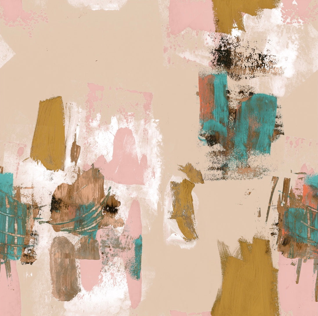 Abstract Painterly Wallpaper- Pastel Peach