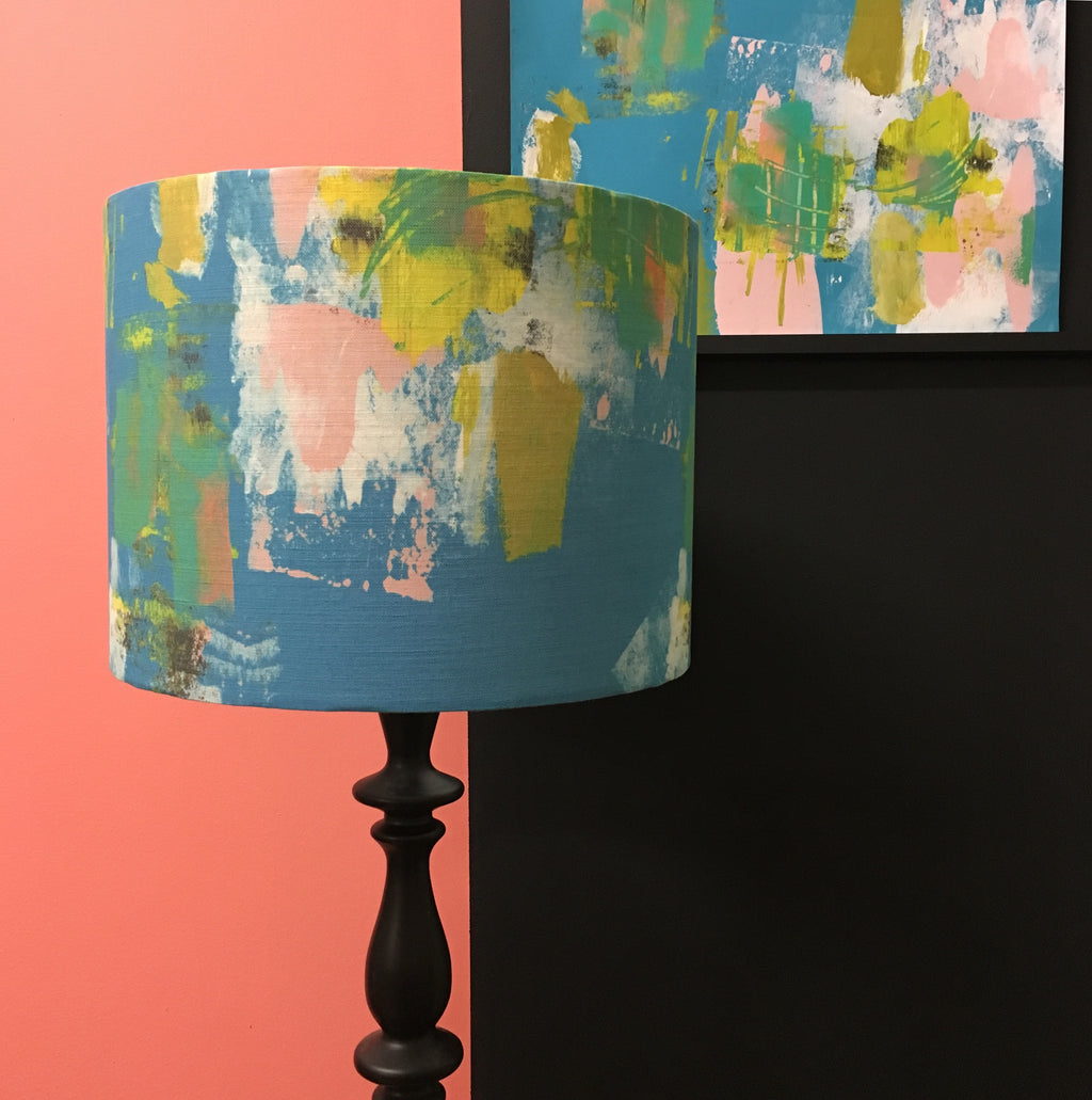 Abstract Turquoise Large Lampshade