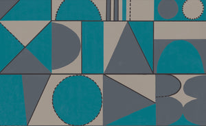 Taking Shape Wallpaper- Turquoise & Grey
