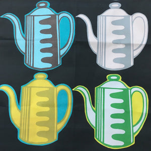 Vintage Coffee Pots teatowel black
