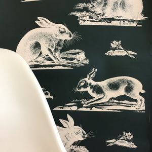 Rabbits Wallpaper - Black + Blush