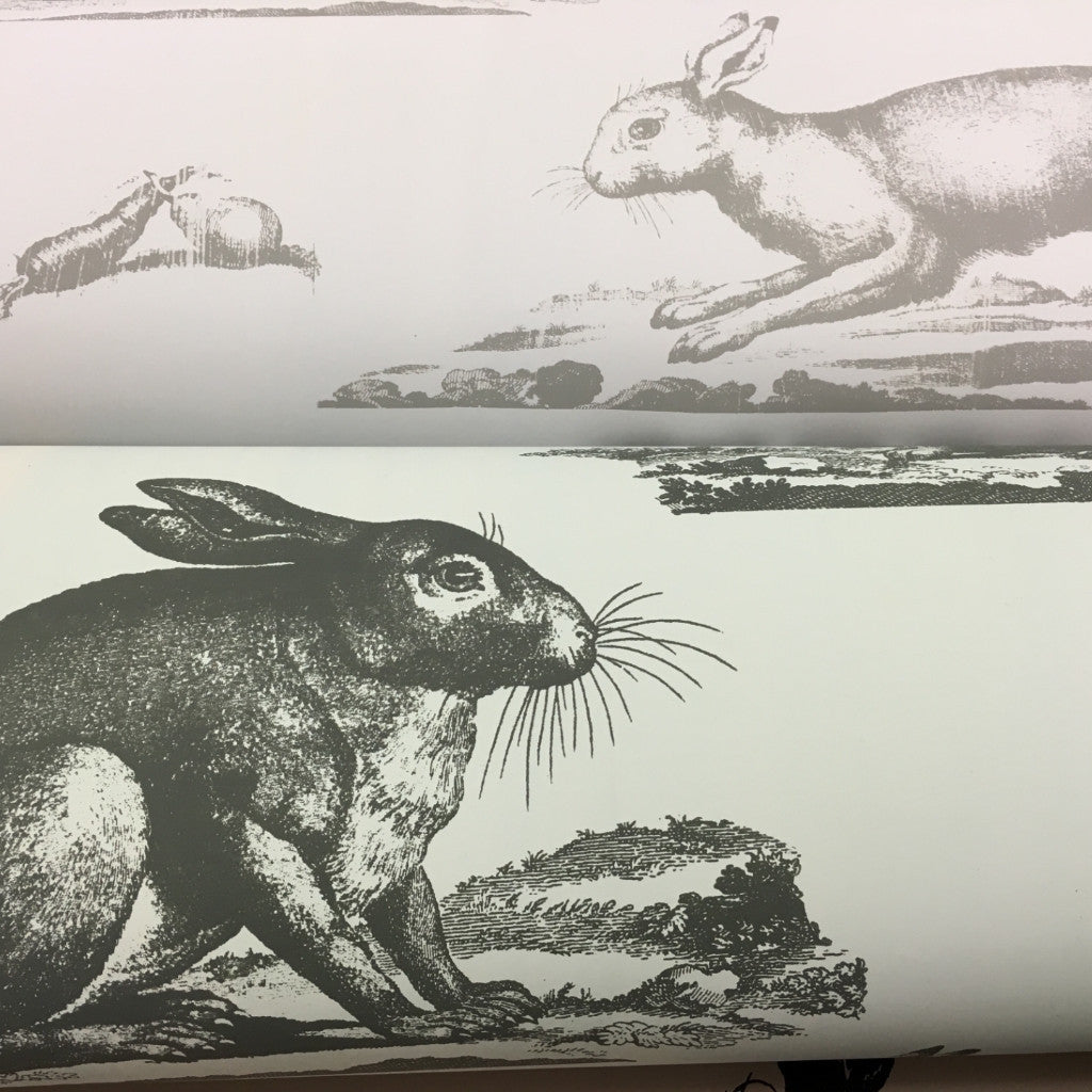 Rabbits Wallpaper - Grey green + Charcoal