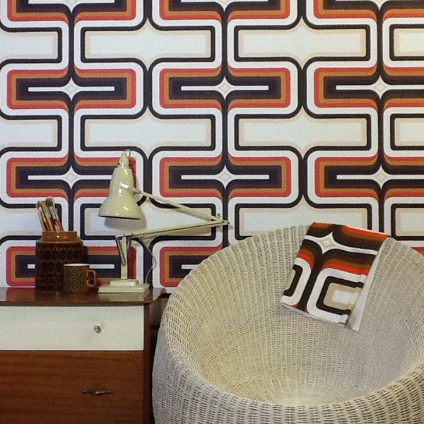 70s Geometric wallpaper Orange + brown