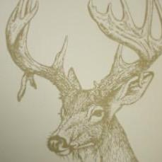 Linen, Stags head wallpaper