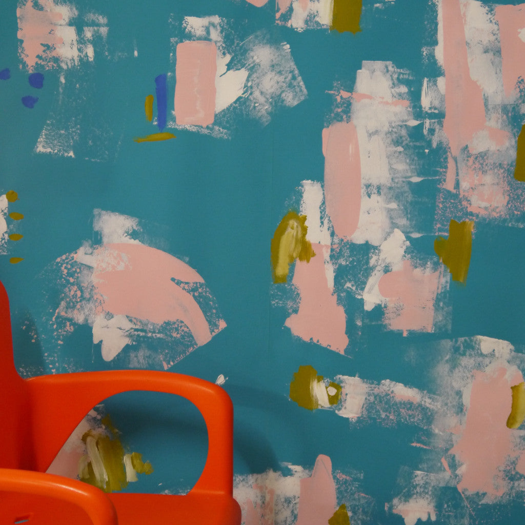 Abstract Painterly Wallpaper- Turquoise & Pink