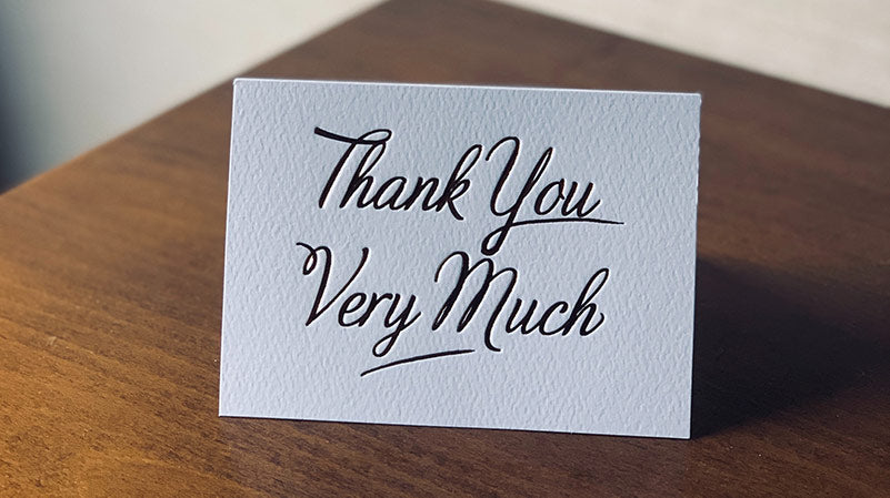 Card reading: Thank you very much