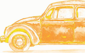 watercolor illustration of a car