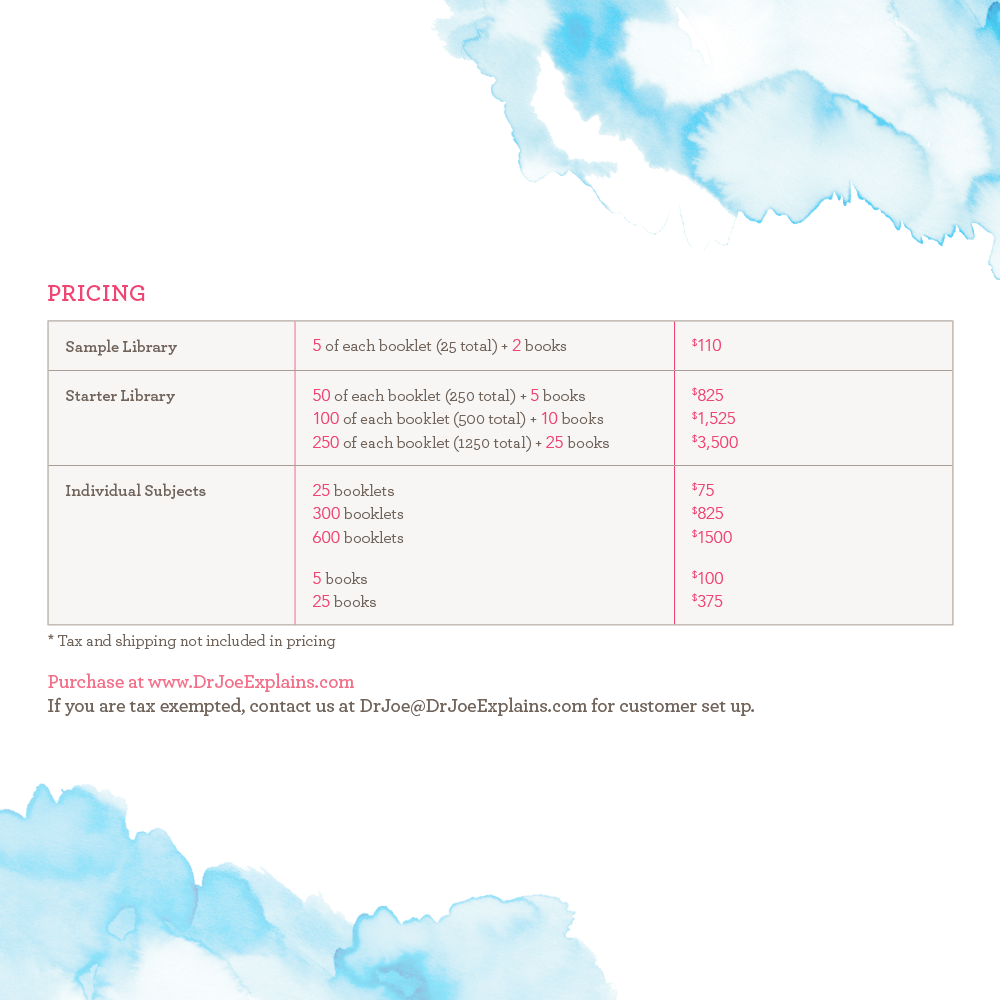 breast cancer patient education series pricing sheet
