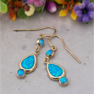 14k Solid Gold Blue Opal Dangle Earrings
