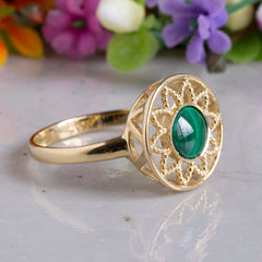 14K Yellow Gold Round Green Malachite Ring - antique ring , Handmade
