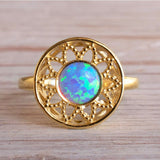 14K Yellow Gold Round Blue Opal Ring - filigree ring , Handmade