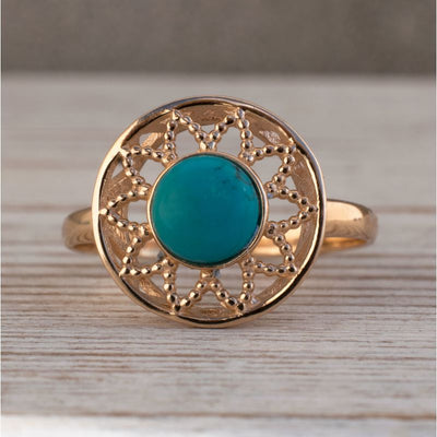 14K Rose Gold Round Turquoise Ring - Turquoise Jewelry