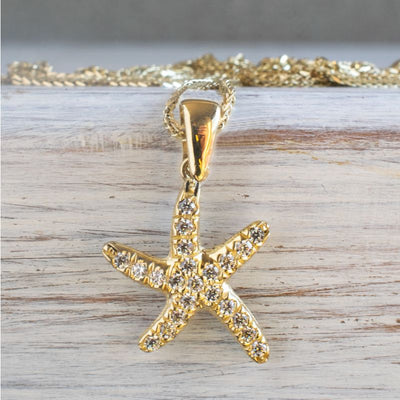 14K Yellow Gold StarFish White Cubic zirconia Pendant