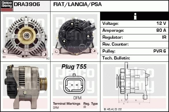 Remy DRA3906 Alternator - Citroen Berlingo, Peugeot Partner 2008 onwards