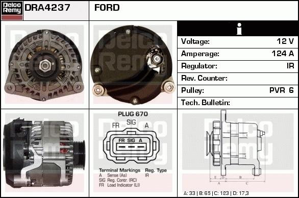 Remy DRA4237 Alternator - Ford Transit Connect 1.8 DI/TDCI 2002-2013