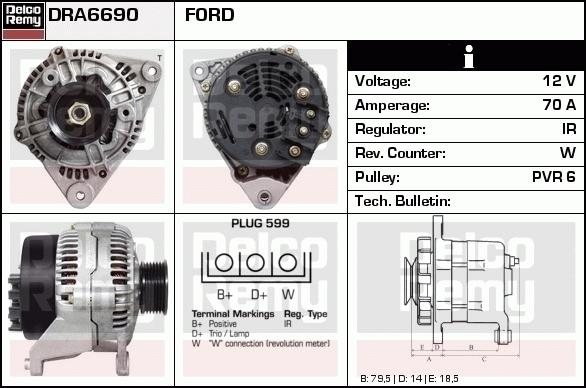 Remy DRA6690 Alternator - Ford Escort, Fiesta, Orion 1.6 and 1.8 16v