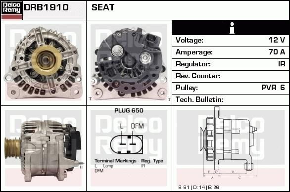 Remy DRB1910 Alternator - VW Golf IV