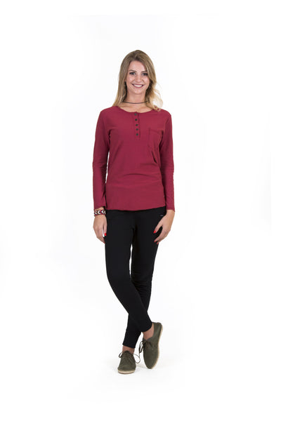 Blusa M/L Front Button Bordô