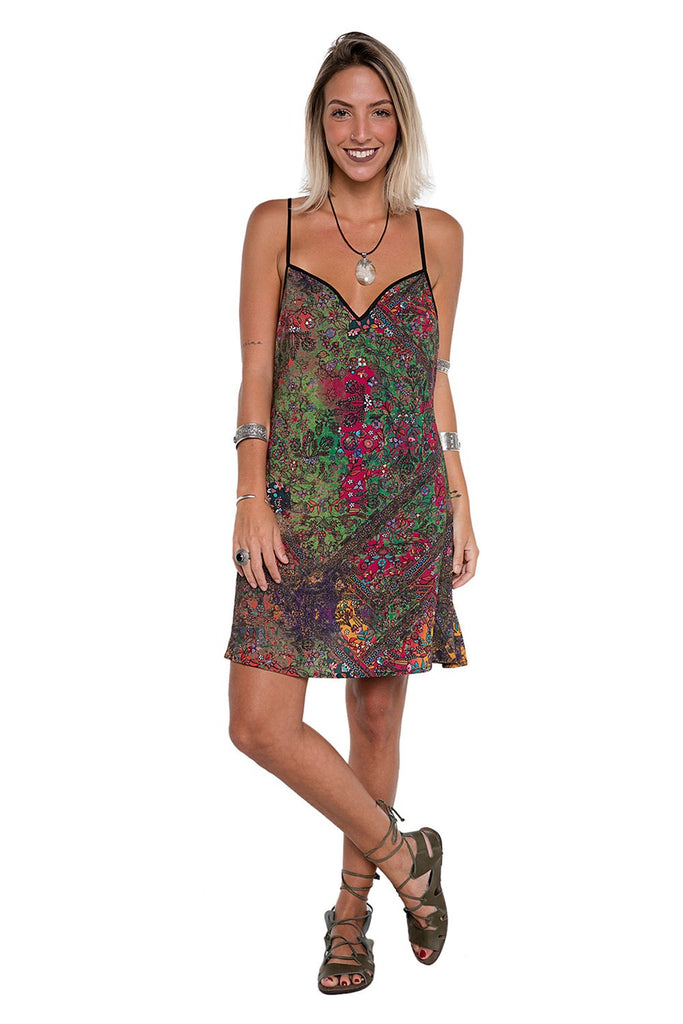Vestido Slip Dress Indian Roses