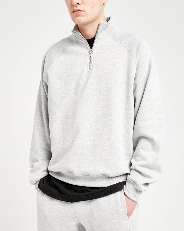 HEAVYWEIGHT QUARTER ZIP - MARL GREY