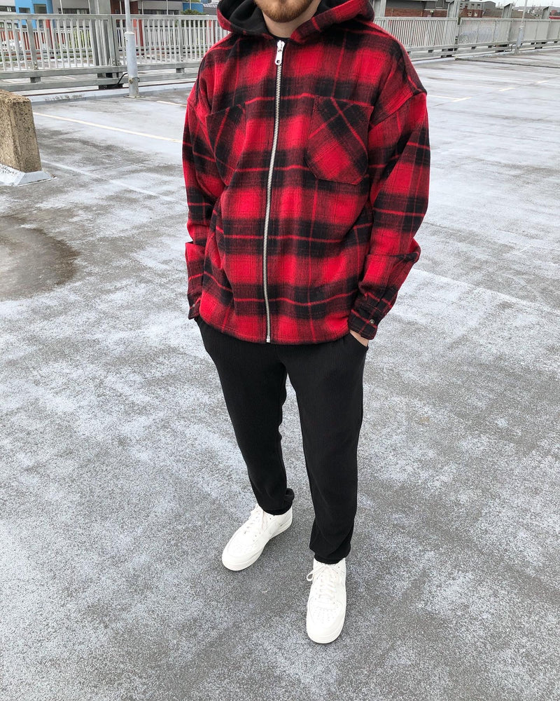 HEAVYWEIGHT HOODED FLANNEL - RED