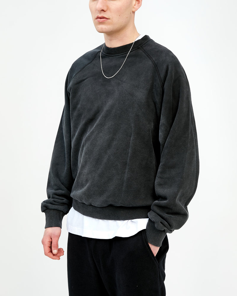 RAGLAN WORK SWEAT - WASHED BLACK