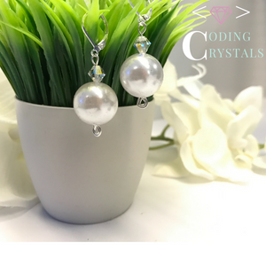 """Perl Script"" pearl drop earrings"