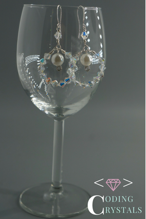 """Queen of Coding"" Swarovski hoop earrings"