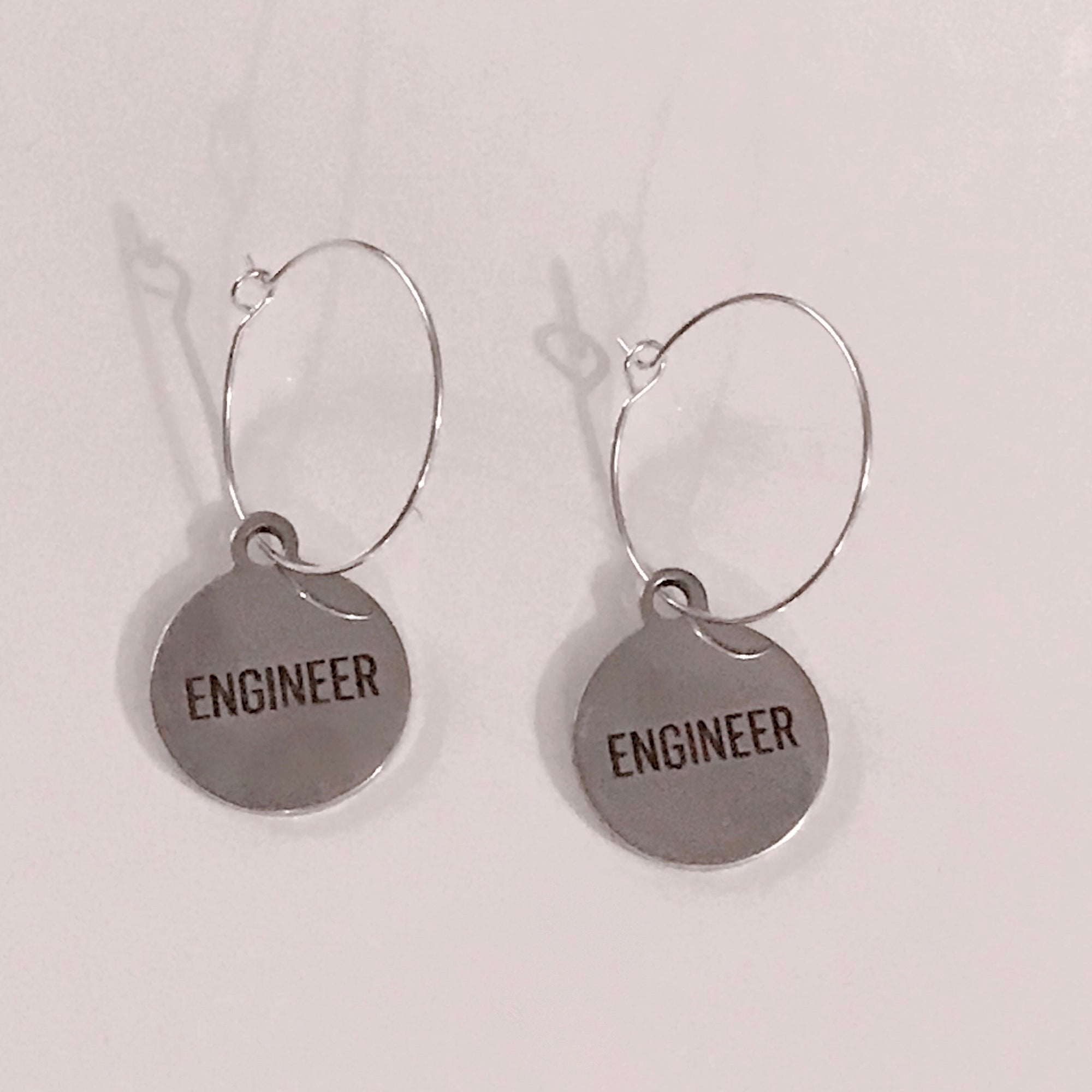 """ENGINEER"" Hoop Earrings"