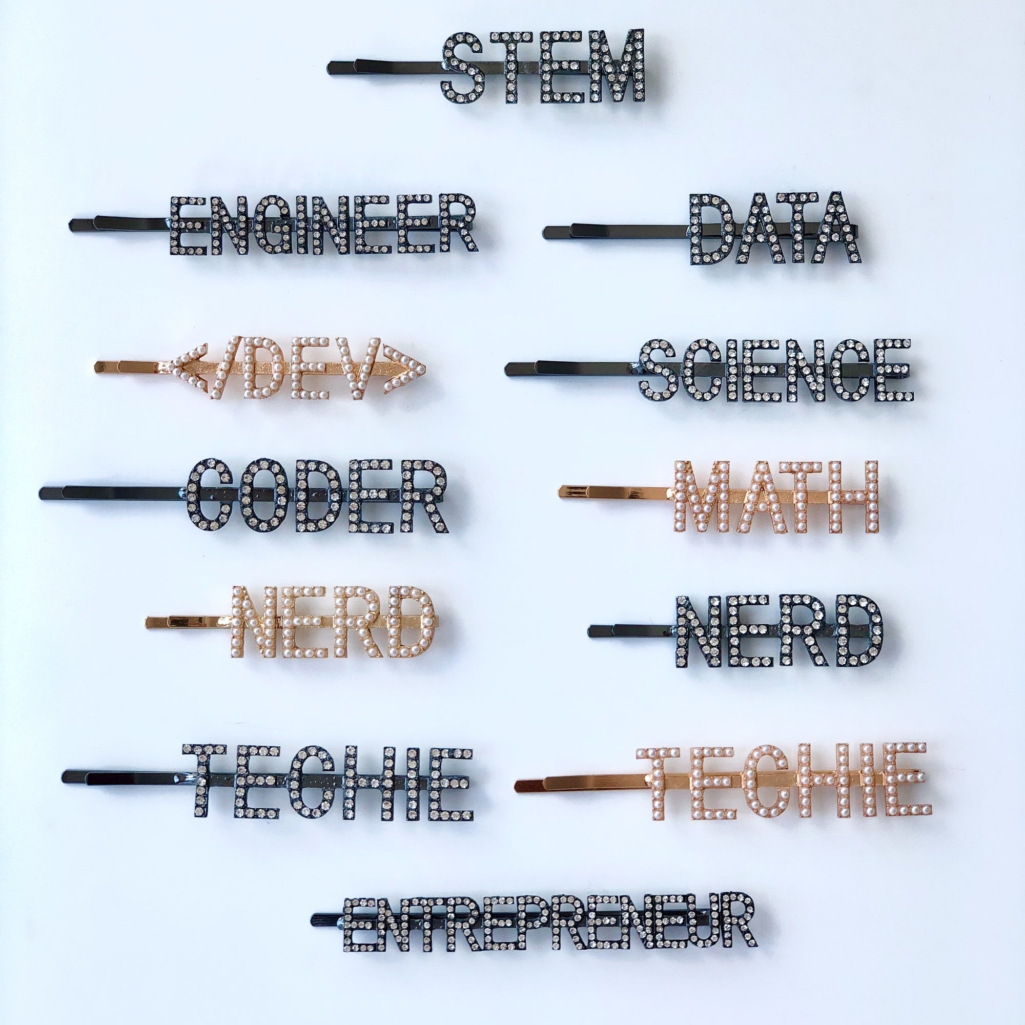 Coding Crystals Hair Pins Full Set