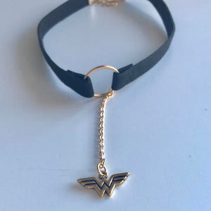 """Wonder Woman"" Black Velvet Gold Ring Choker"