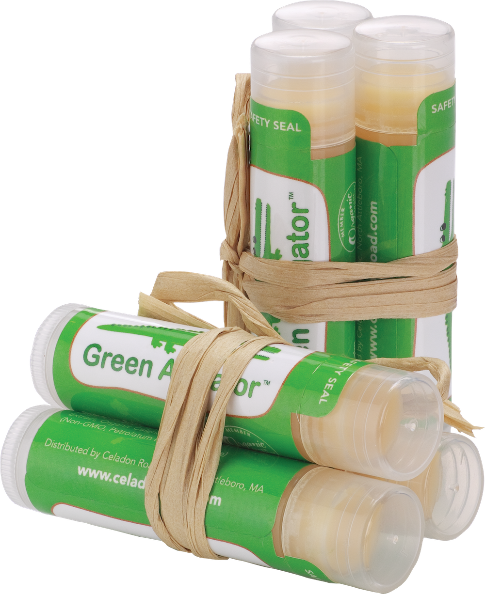 Certified Organic Green Alligator Lip Balm Trio - Vanilla, Peppermint, Coconut- Celadon Road- www.celadonroad.com