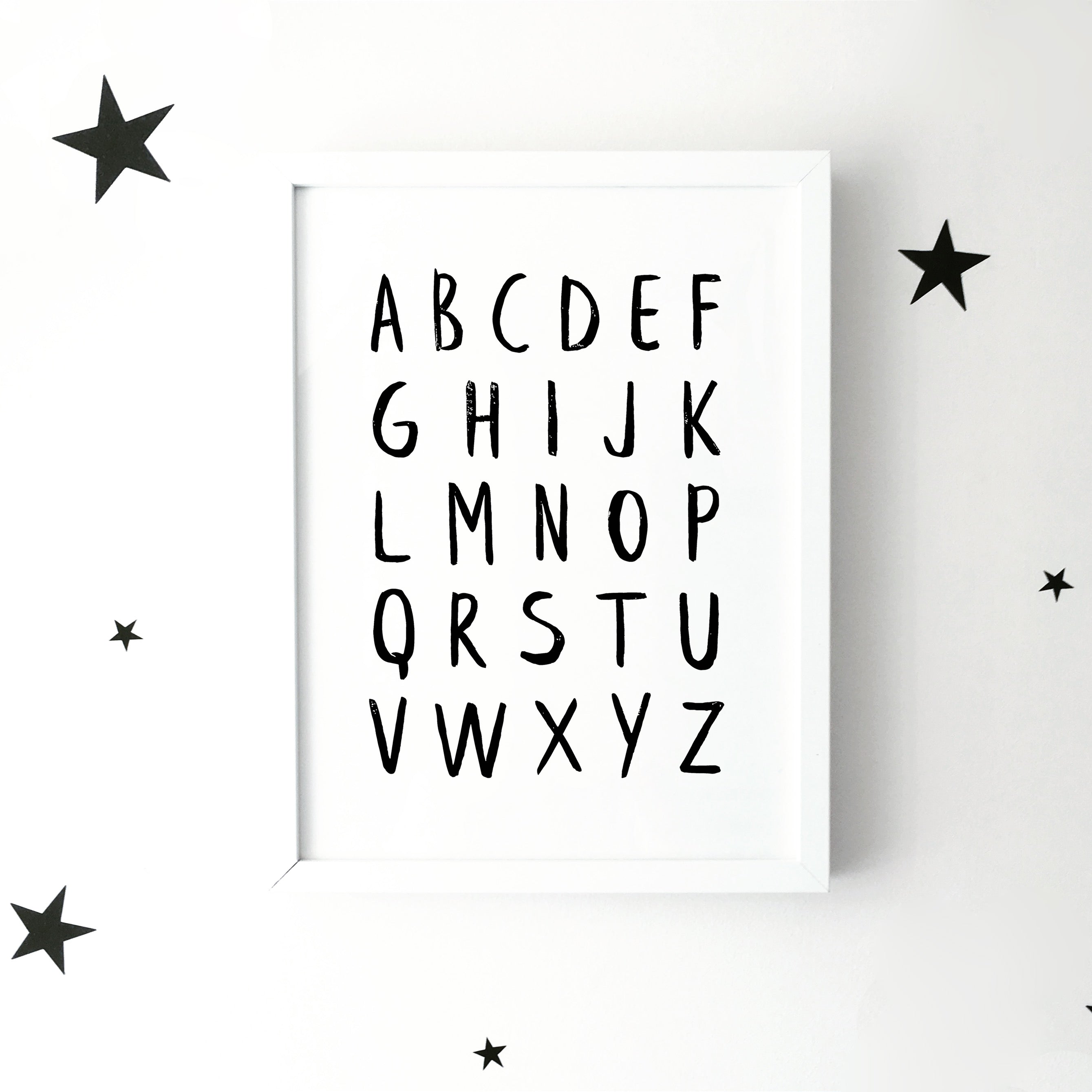 'Alphabet' brush letter monochrome print | ink & white