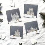 Assorted 'Britain in the snow' Christmas cards | ink & white