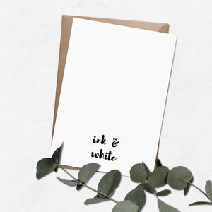 'All the feels' brush letter A6 greeting card | ink & white
