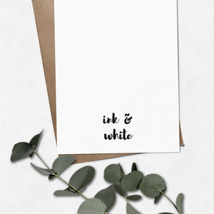 'Bundle of joy' on black brush letter A6 greeting card | ink & white
